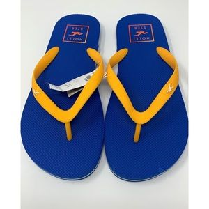 Hollister Co NWT Blue and Bright Yellow Flip Flops